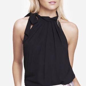 Express Black Multi-way Tie Neck Sleeveless Blouse